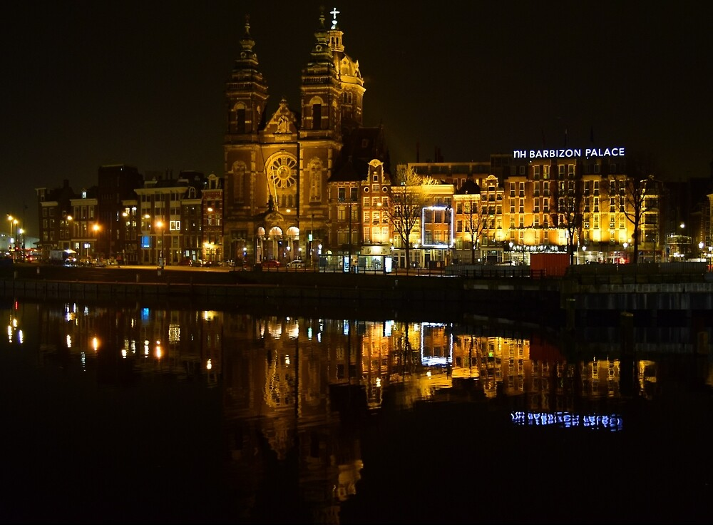 Amsterdam Central Station at Night by Christian Richards
