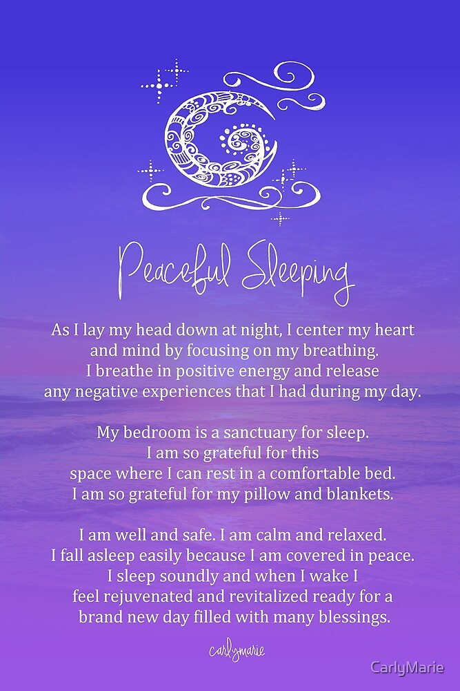 Quot Affirmation Peaceful Sleeping Quot By Carlymarie Redbubble
