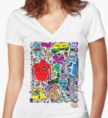 CRAZY DOODLE 3 Women's Fitted V-Neck T-Shirt