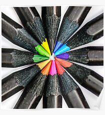 Black Colorful Pencils Poster