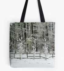 Trees and Fence Covered in Snow Tote Bag