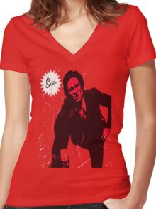 Mike Strutter red  Women's Fitted V-Neck T-Shirt