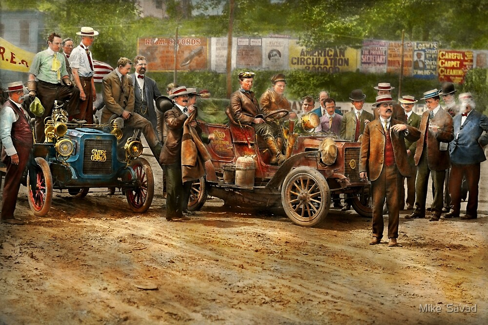 Car - Race - The end of a long journey 1906 by Michael Savad
