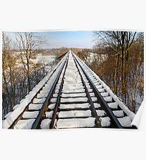 Snowy Railway Trestle Poster