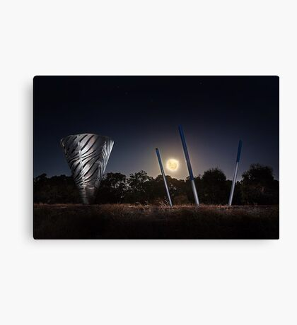 Moonrise Over Water Dance Sculptures  Canvas Print