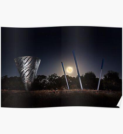 Moonrise Over Water Dance Sculptures  Poster