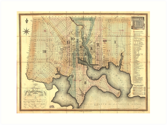 Plan of the City of Baltimore Maryland Map (1822) by allhistory
