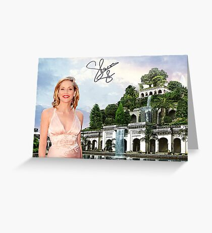 Hanging Gardens of Babylon and Sharon Stone Greeting Card
