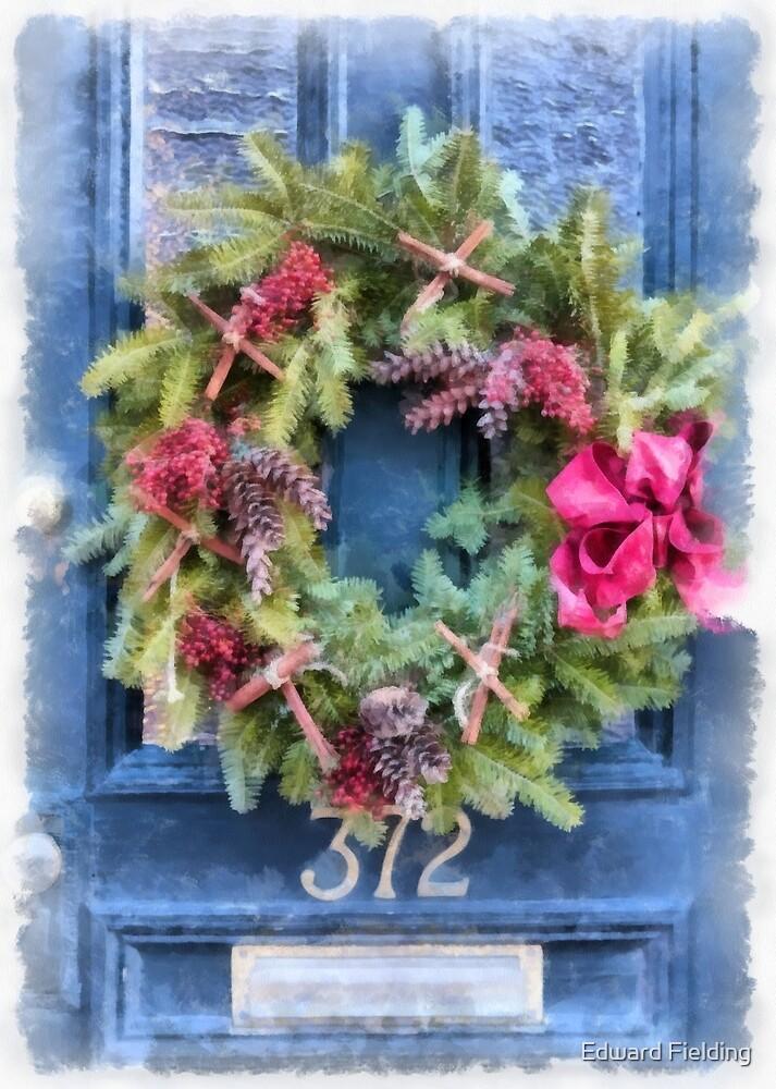 Christmas Wreath Watercolor by Edward Fielding