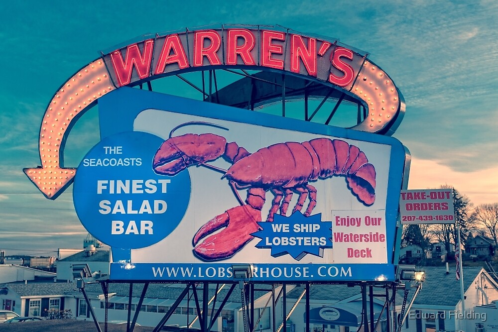 Warrens Lobster House Neon Sign Kittery Maine by Edward Fielding