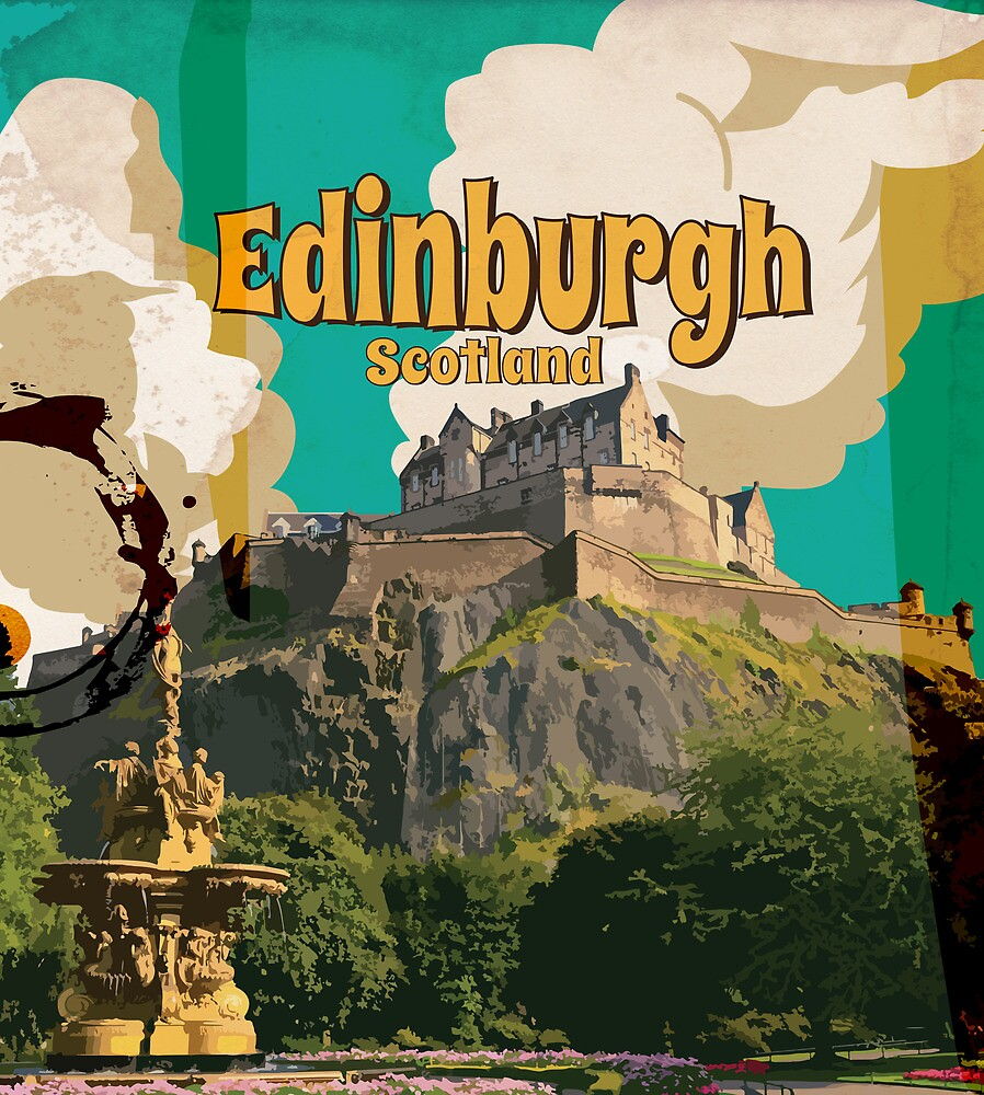 """Edinburgh Vintage Travel Poster"" By Vectorwebstore"