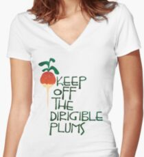 Keep Off the Dirigible Plums Women's Fitted V-Neck T-Shirt
