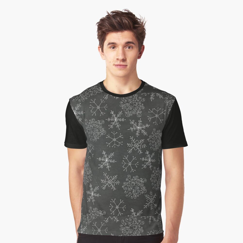 Chalkboard Snowflakes Graphic T-Shirt Front