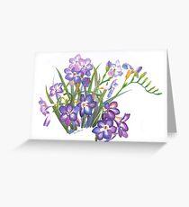Purple Freesia in Spring Greeting Card