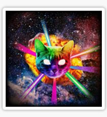 Exploding Rainbow Laser Cat Sticker