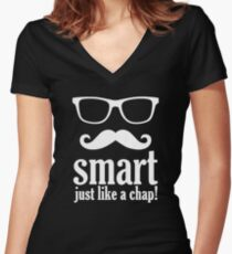 Smart Just Like A Chap Women's Fitted V-Neck T-Shirt
