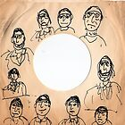 """drawing on old 7"""" 45 sleeve by Stacey Lazarus"""