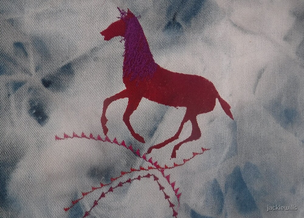 One Red Horse.  Print of Embroidered Textile by jackiewills