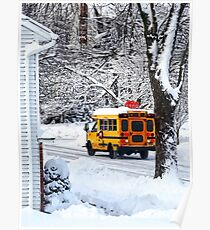 On the Way to School in Winter Poster