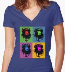 Monkey Warhol Women's Fitted V-Neck T-Shirt