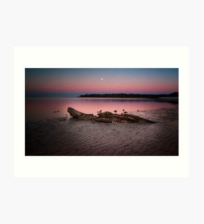moon set @ sunrise Art Print