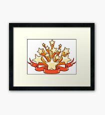 Dooddle Gold Stars and Red Banner Framed Print