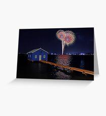 Crawley Edge Boatshed Fireworks Greeting Card
