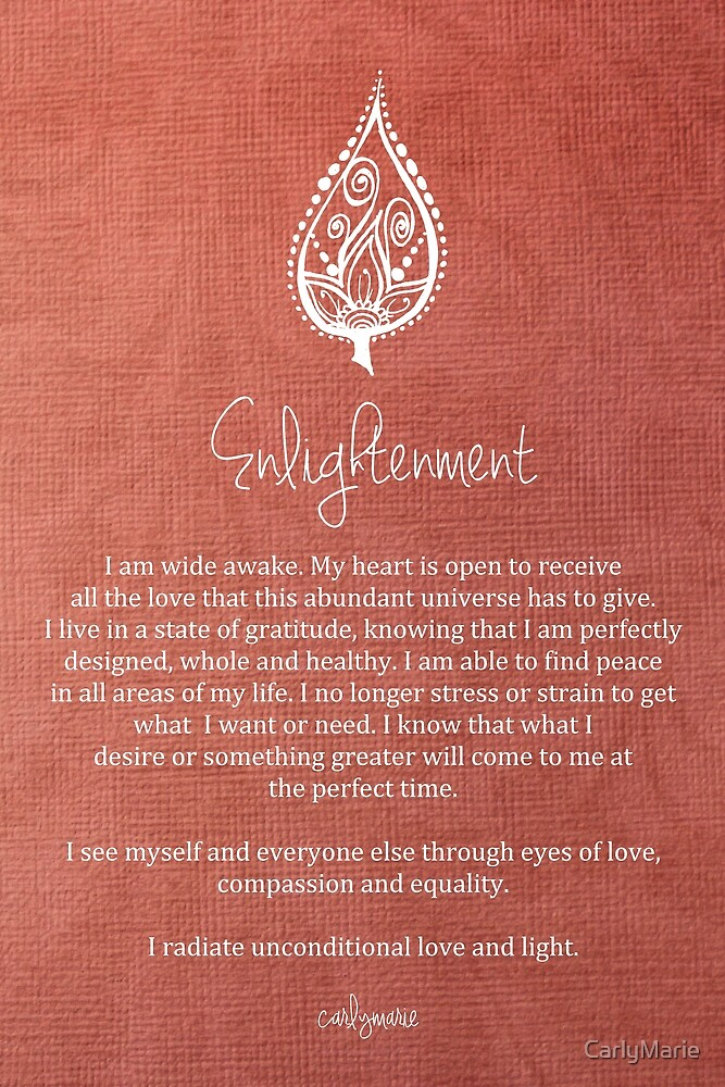 Quot Affirmation Enlightenment Quot By Carlymarie Redbubble
