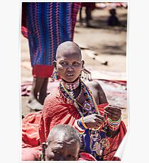 Masai woman adorned with jewellery Poster