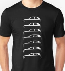 Silhouette Volkswagen VW Golf Mk1-Mk7 Left White T-Shirt