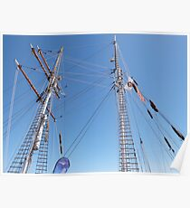 Twin Masts of 'One & All' training sailing, Port Adelaide. S.A. Poster