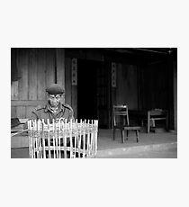 Man weaving baskets, Sapa, Vietnam Photographic Print