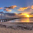 Sun Rays Over Frankston Pier by Ben  Cadwallader