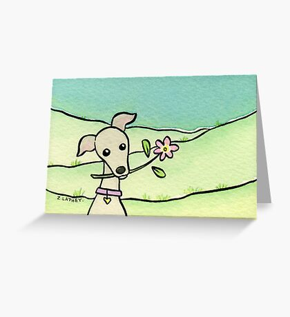 Greyhound with Pink Flower  Greeting Card