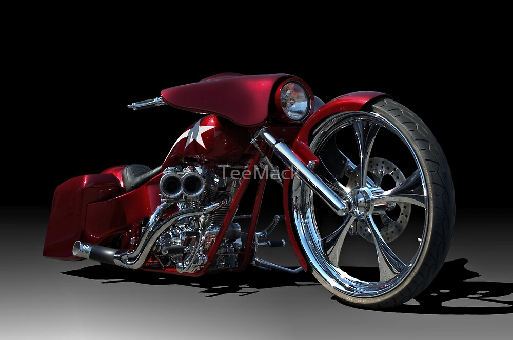 """""""Custom Bagger Motorcycle"""" by TeeMack 