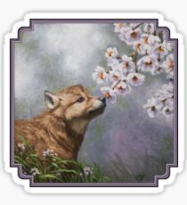 Wolf Pup and Flower Blossoms Sticker