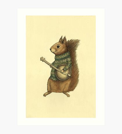 Squirrel with a banjo Art Print