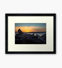 Driftwood Sunset Framed Print