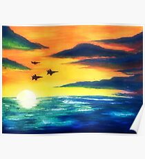 airforce sunset Poster
