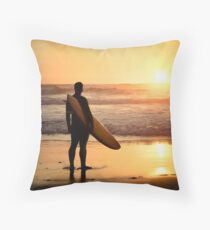 Surfer watching the waves Throw Pillow