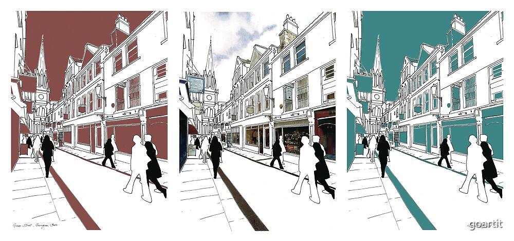 Georgian Street variation UK : digital file, decor, wall art, modern, city, high street, market, colour, people, busy, walk by hannah glanvill by goartit