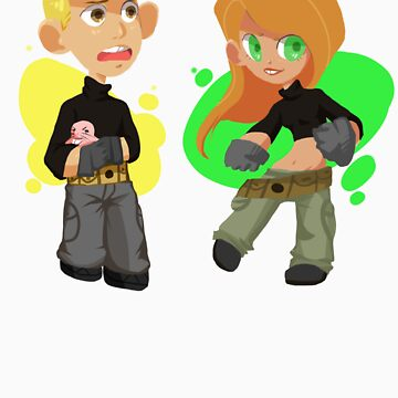 Kim Possible and Ron Stoppable chibi T-shirt by Ful-Fisk