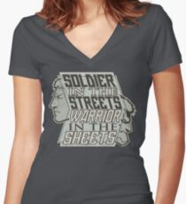 SPOILERS - Soldier in the Streets, Warrior in the Sheets Women's Fitted V-Neck T-Shirt