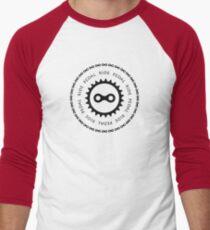 Ride & Pedal Black Text Men's Baseball ¾ T-Shirt