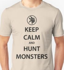 KEEP CALM and HUNT MONSTERS (black) T-Shirt