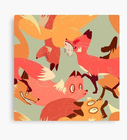 Seamless Fox Pattern Canvas Print