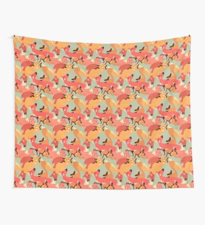 Seamless Fox Pattern Wall Tapestry