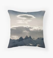 Smoke-signal-Mountains Throw Pillow