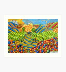 405 - THE WALL OF FRIENDSHIP - I - DAVE EDWARDS - COLOURED PENCILS & FINELINERS - 2014 Art Print
