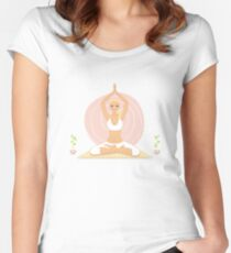Beautiful woman doing yoga practice Women's Fitted Scoop T-Shirt